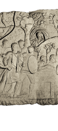 Relief drawing ancient empire. Trajan s column reading