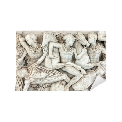 Relief drawing ancient war. Representations of carved in