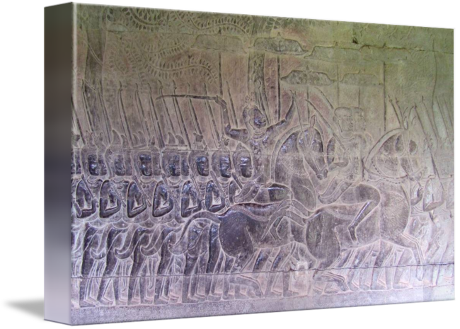 Relief drawing bas. Angkor wat khmer soldiers