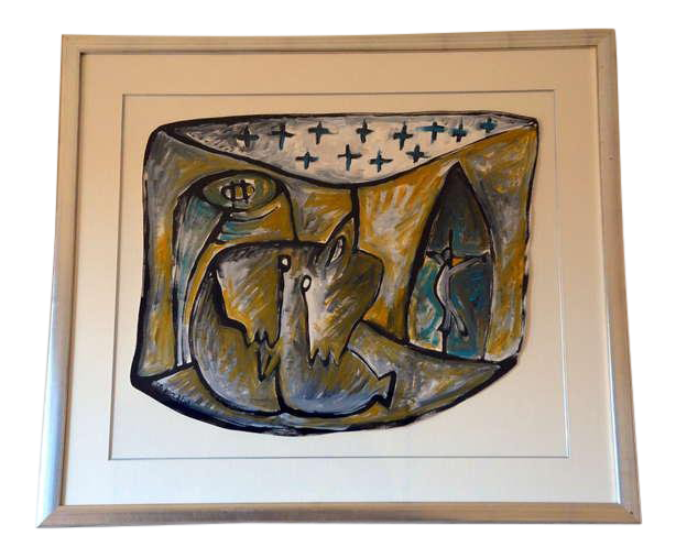 Relief drawing abstract. Lovely contemporary framed gouache