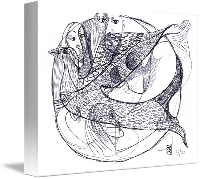 Relief drawing illusion. Women holy spirit
