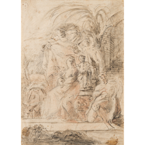Relief drawing ink. Th century artist