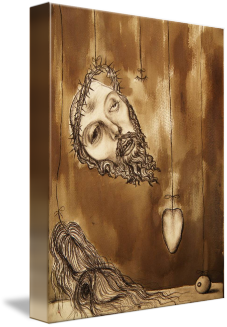 Relief drawing ink. Deconstructing jesus christ pencil