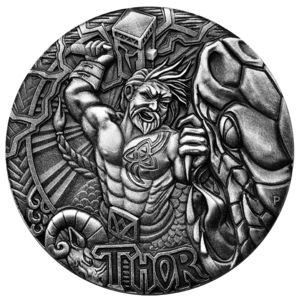 Relief drawing low. Norse gods thor