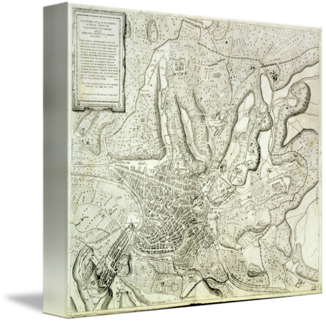 Relief drawing paper. Map of the city
