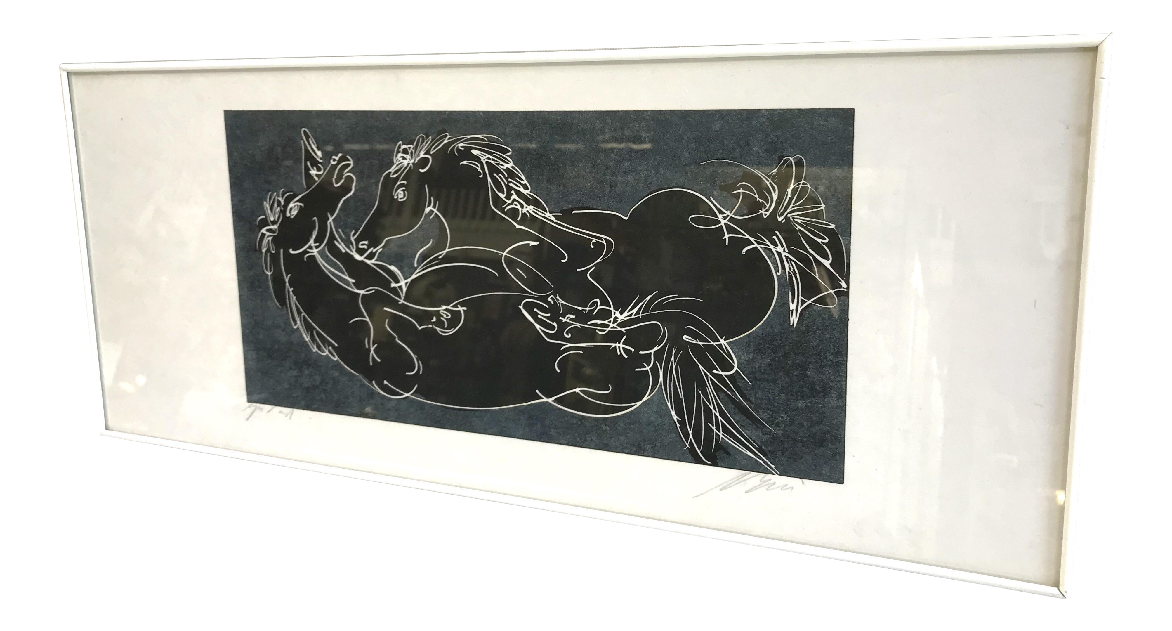 Relief drawing printmaking. Abstract framed print of