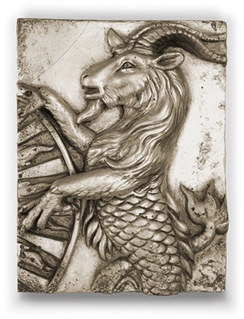 Relief drawing provocative. Capricorn silver zodiac collection