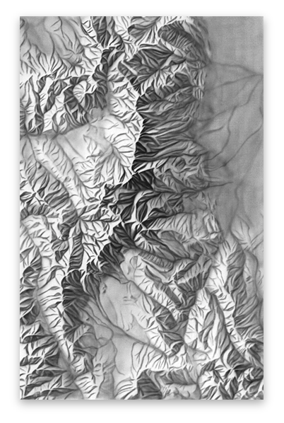 Relief drawing. Shaded archive rocky mountain