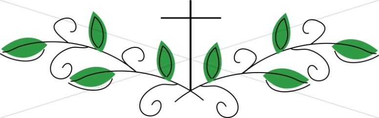 Religious clipart divider. Leaves and cross page