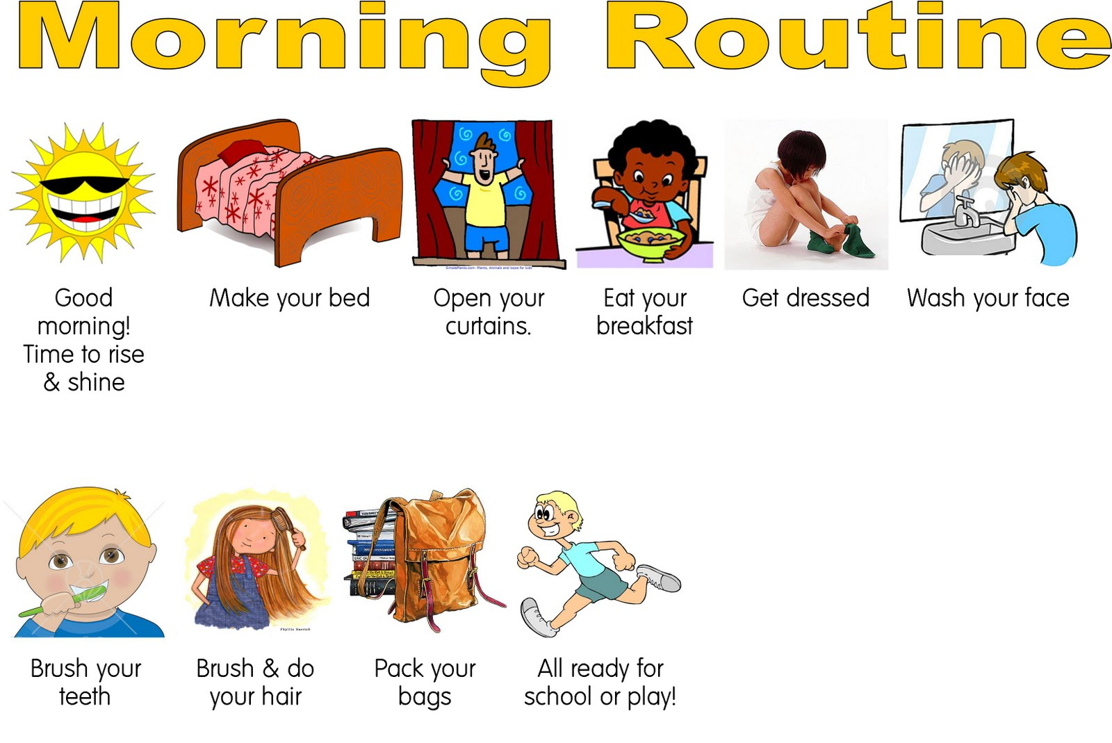 Reminder clipart breakfast. Morning routine tutordoctorwny a