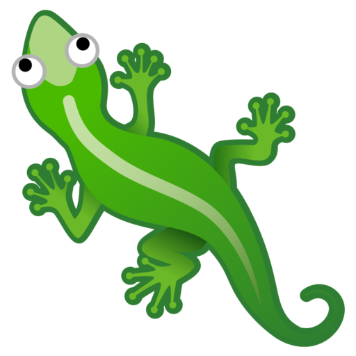 Transparent gecko amphibian. Google android pie