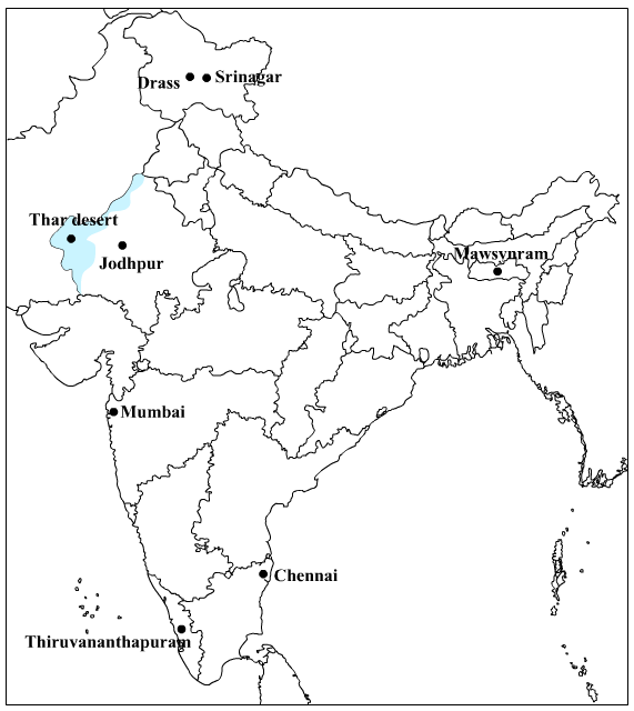 Republic drawing map india. Locate the following on