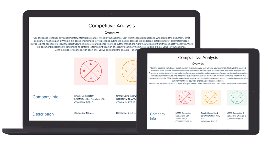 Research vector competitor. Competitive analysis template and