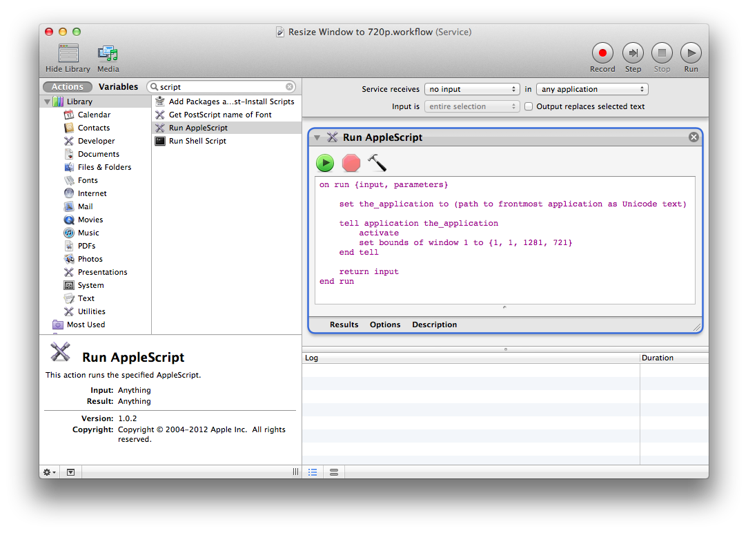 Resize png windows. Using automator and applescript