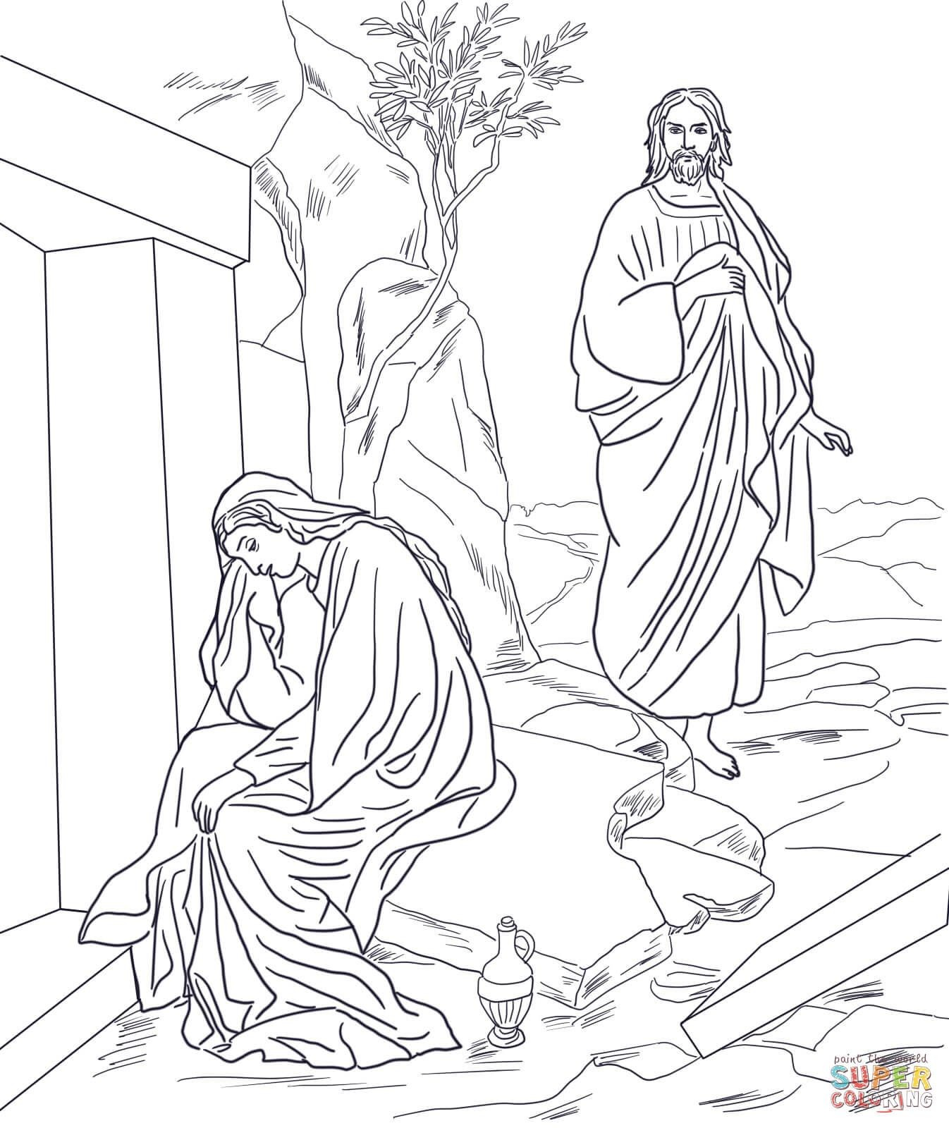 Resurrection clipart tomb mary magdalene. Coloring pictures of jesus
