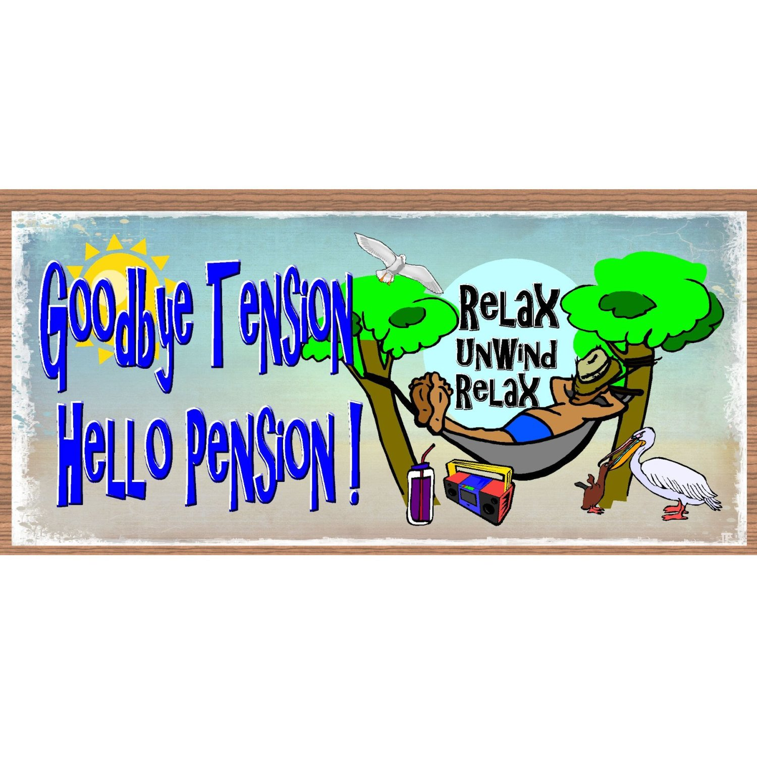 Retirement clipart goodbye. Wood signs tension hello