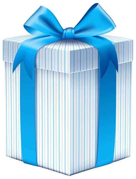 Retro clipart boxing. Gift box with blue