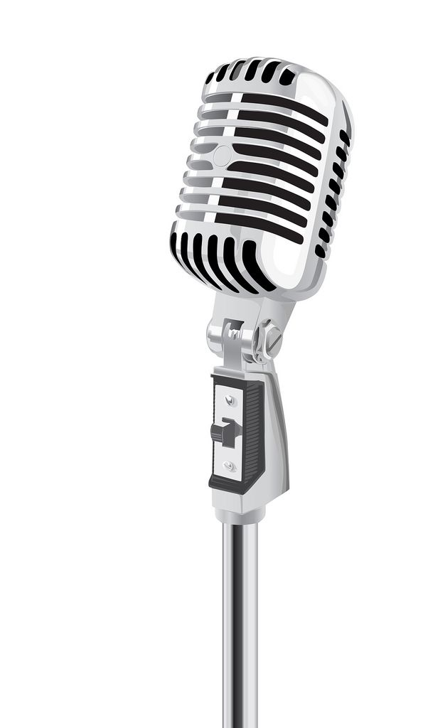 Retro clipart microphone. Vector a photo on