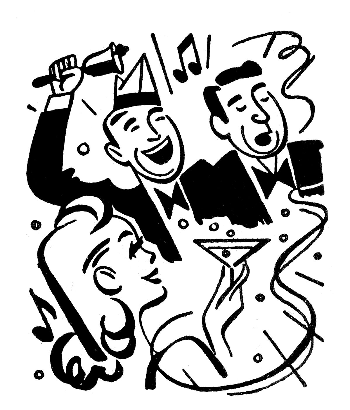 Retro clipart party. Images time new years