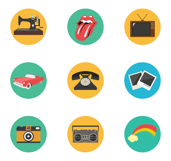 Retro png. Icons free vector