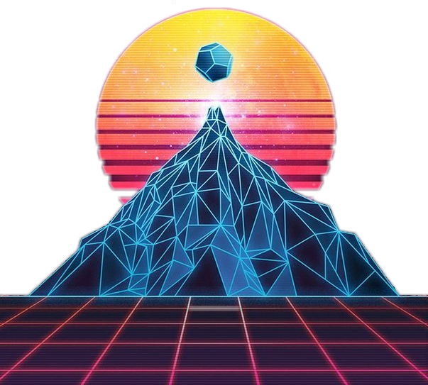 80's vector neon. Retro s mountain futuristic