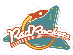 Neon transparent retro. Rad rockets sign vinyl