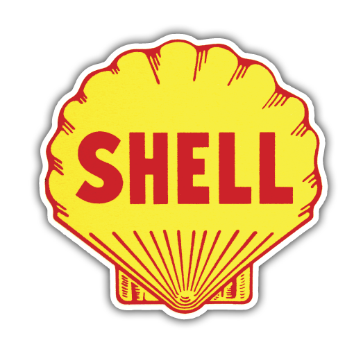 Royal dutch shell fuel. Vintage sticker png picture royalty free stock
