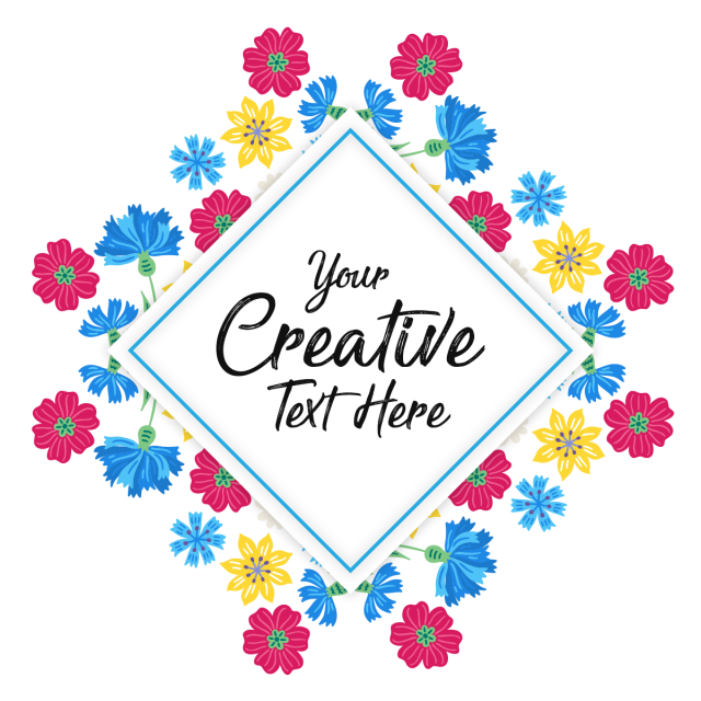 Rhinestone vector square. Badge with flowers frame