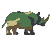 Rhinos drawing easy. Toddler rhino with camouflage