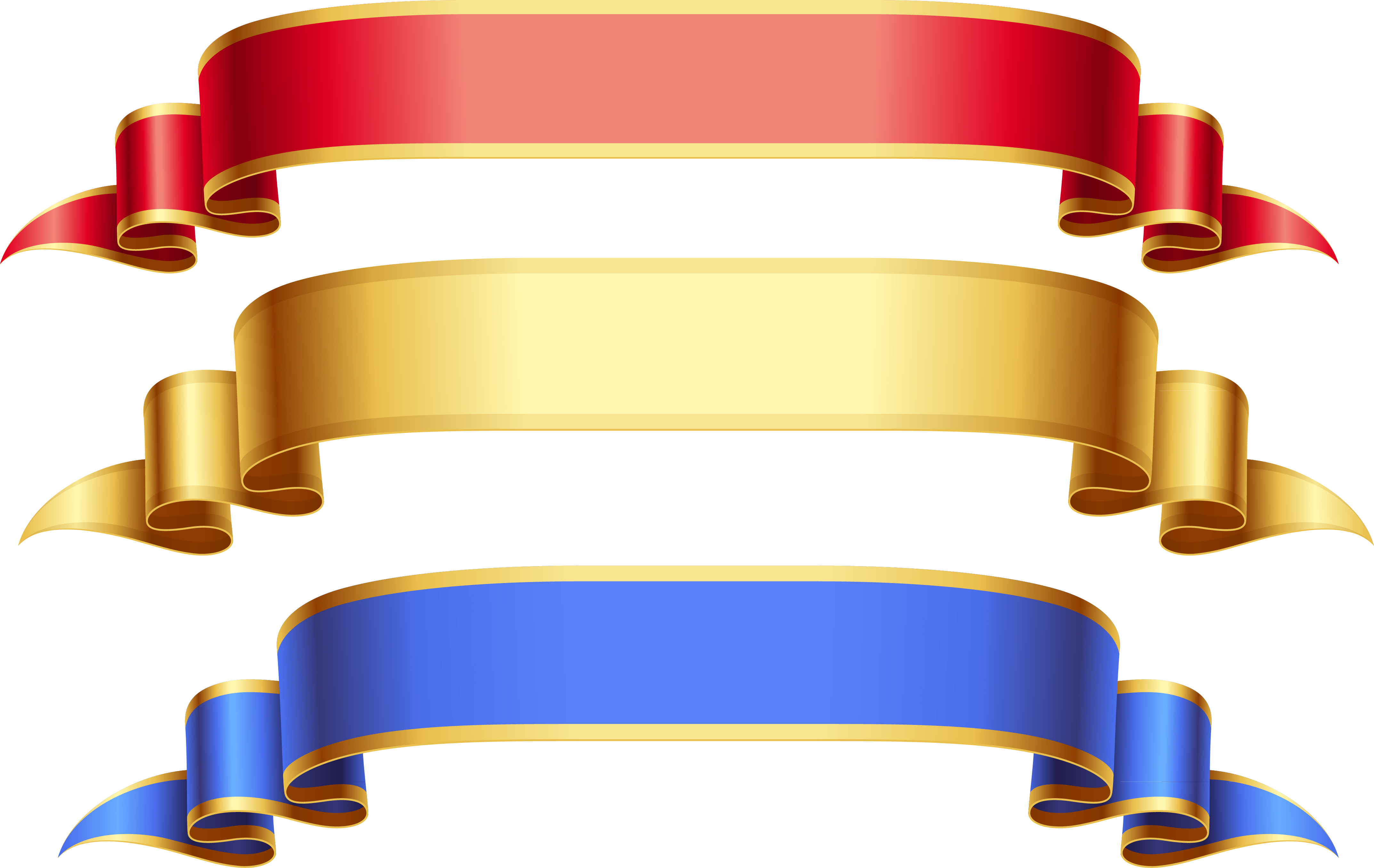 Ribbon banner png. Red gold blue free