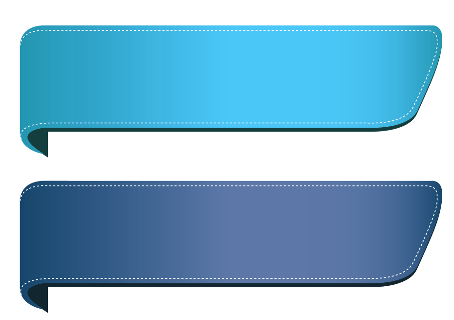 Ribbon banner png. Blue transparent banners set