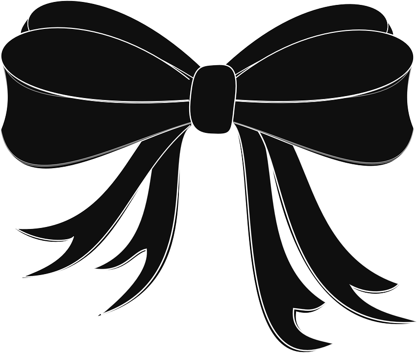 Black ribbon images group. Vector bows simple svg library library