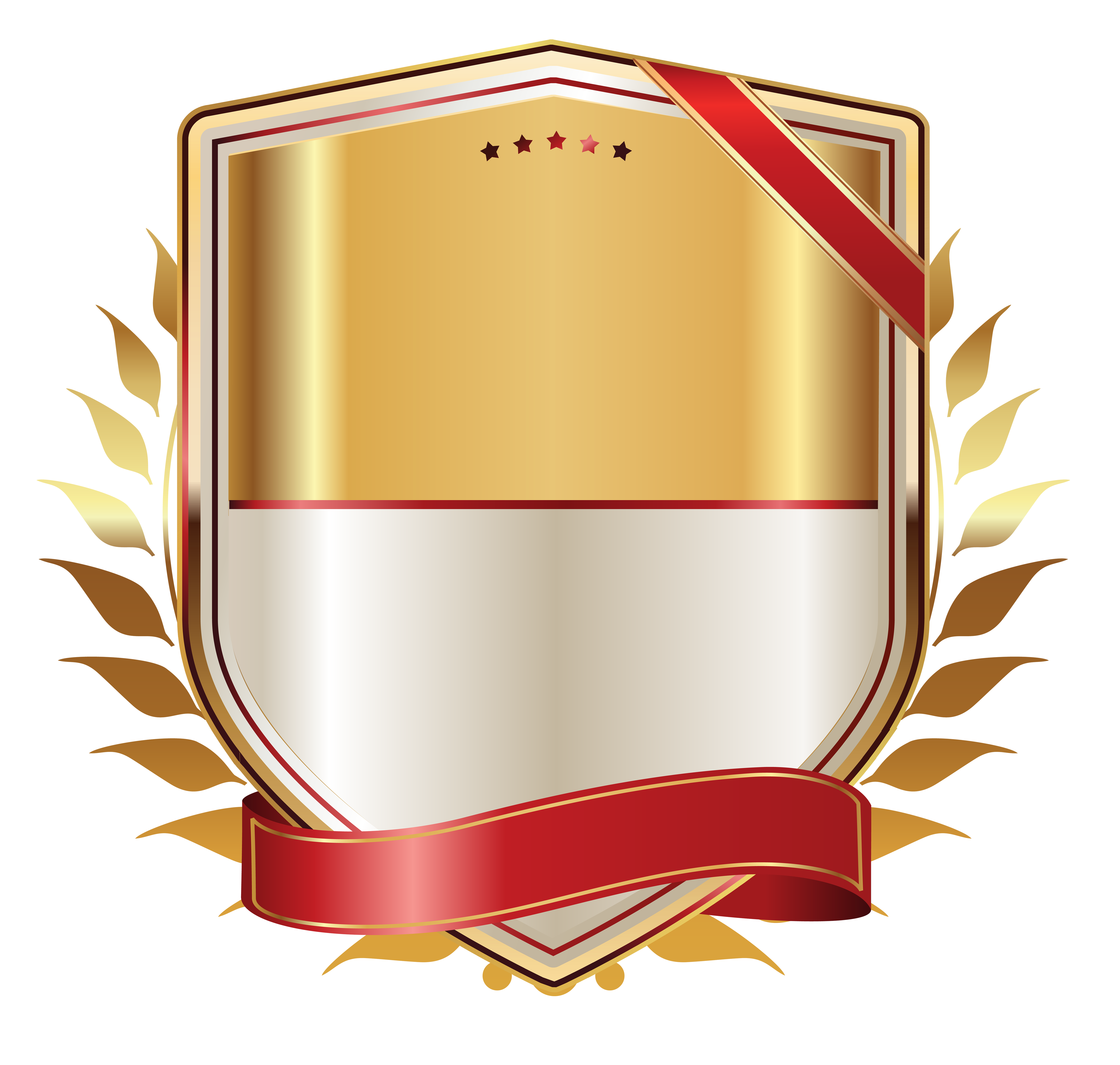 Transparent ribbons logo. Golden label with gold