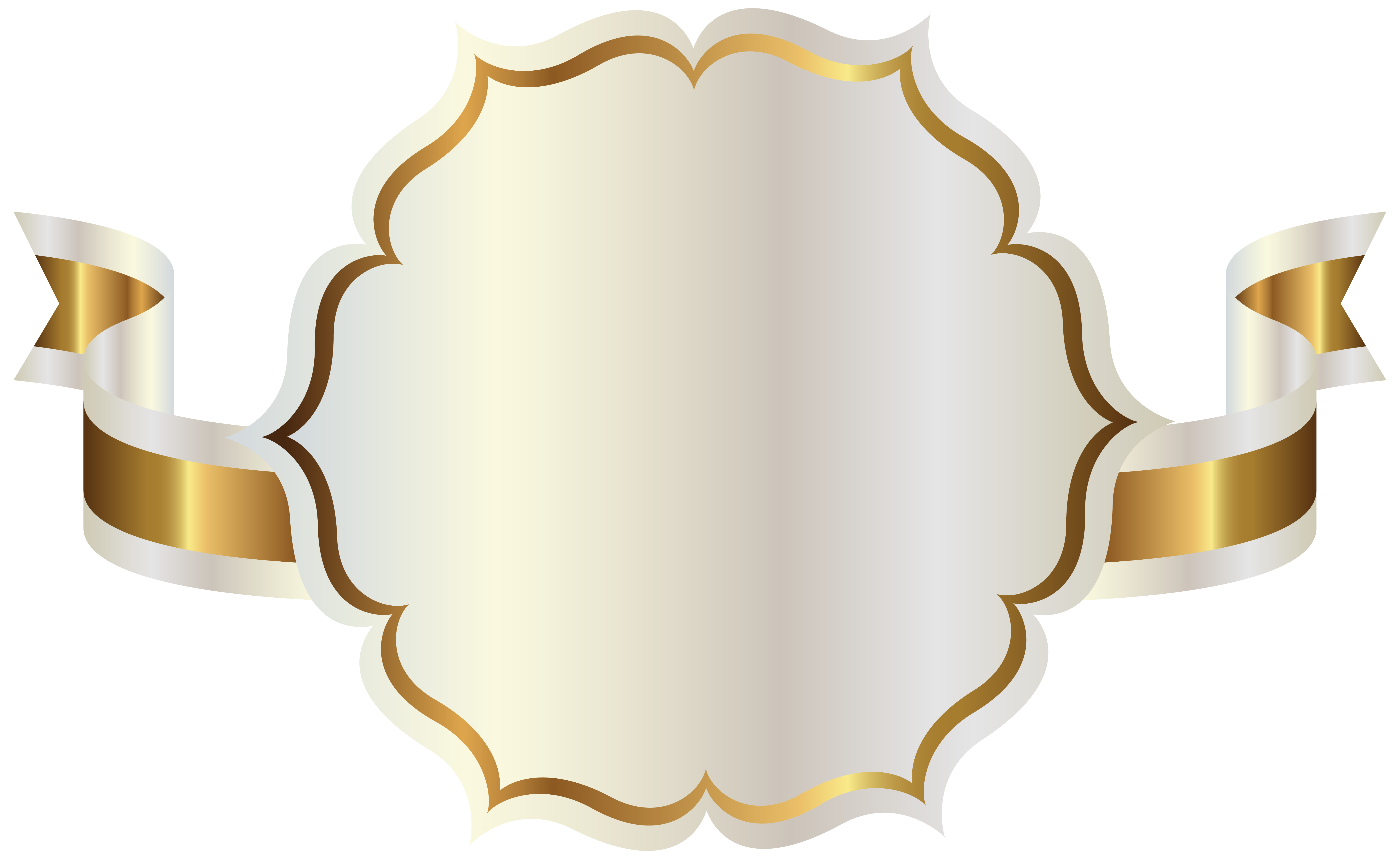 Ribbon clipart label. White with gold png