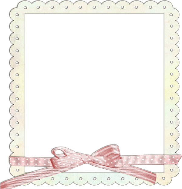 Ribbon frame png. Cream transparent with pink