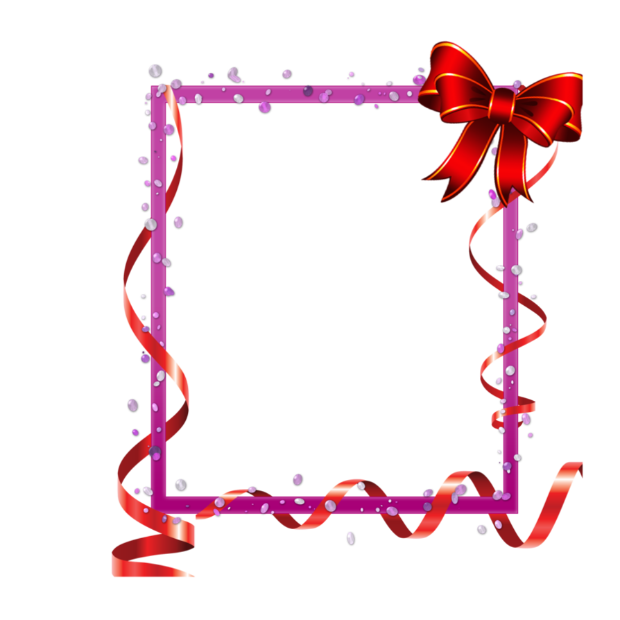 Ribbon frame png. Red with ribbons and