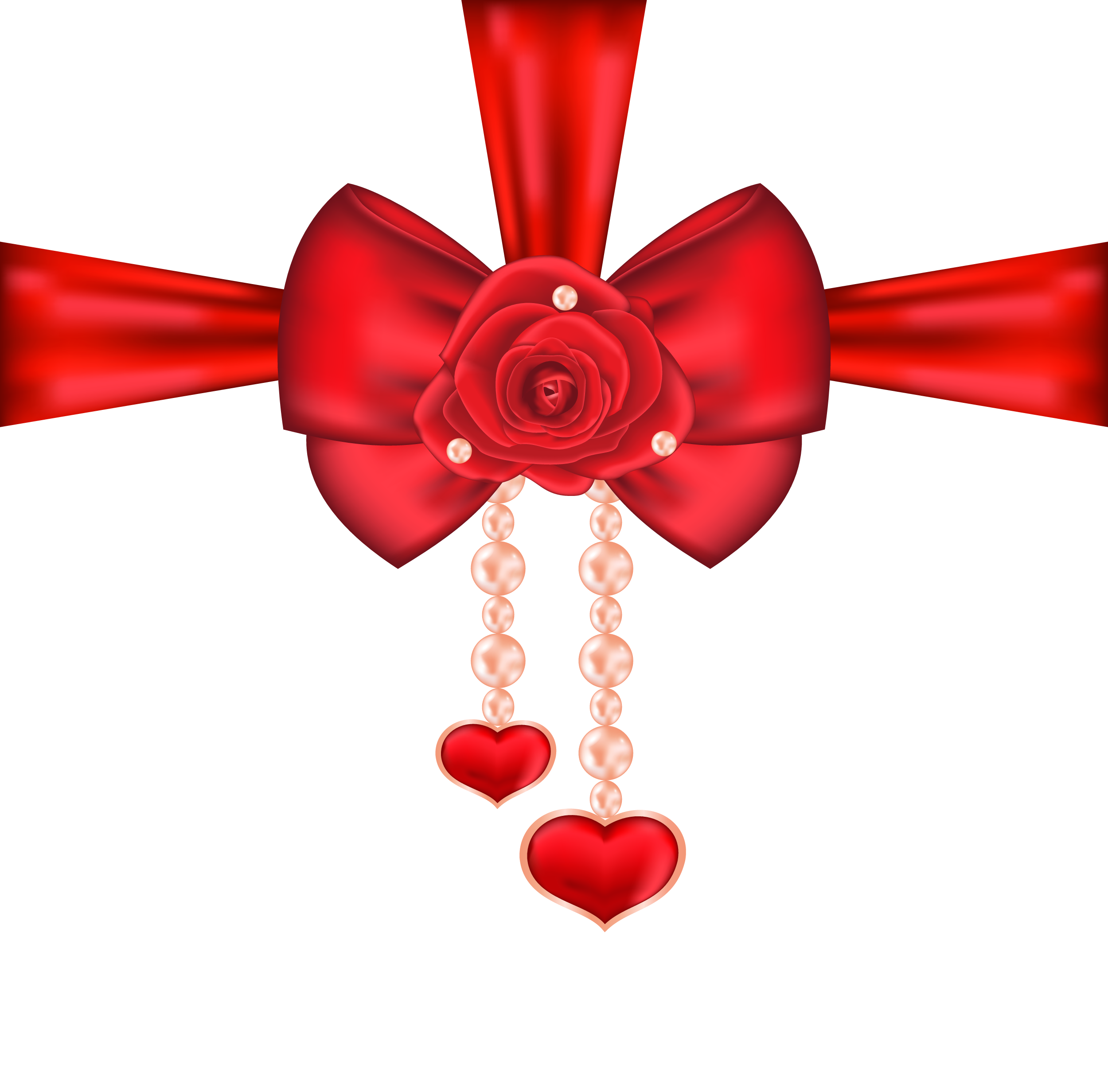 Ribbon heart png. Red decorative bow with