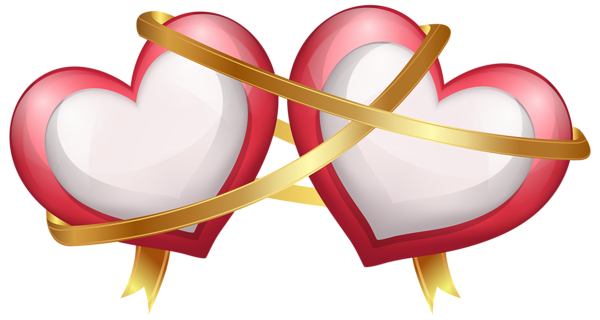 Ribbon heart png. Two hearts with transparent
