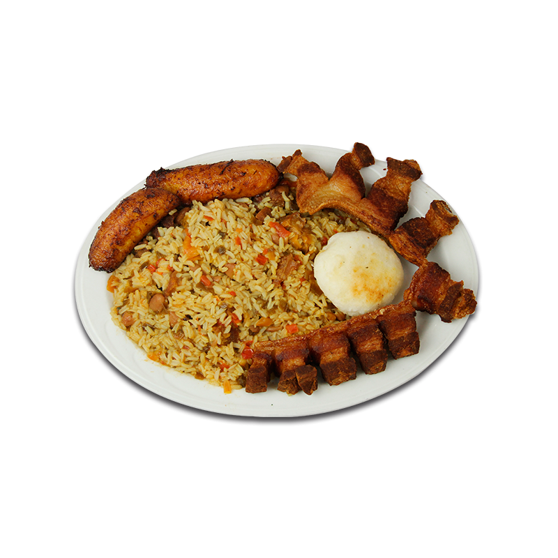 Rice and beans png. Mixed with sliced pork