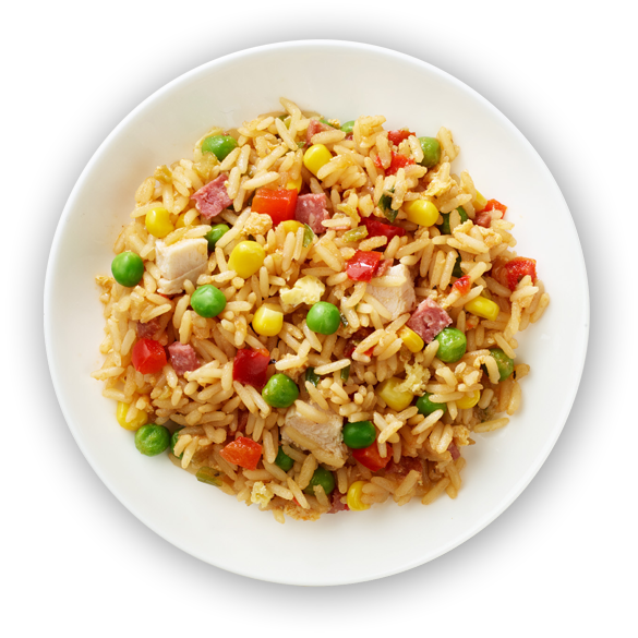 Rice in mixed vegetables & chicken png. Fried enricos