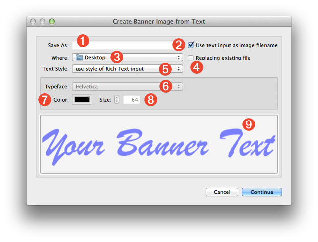 Rich text to png. Os x image from