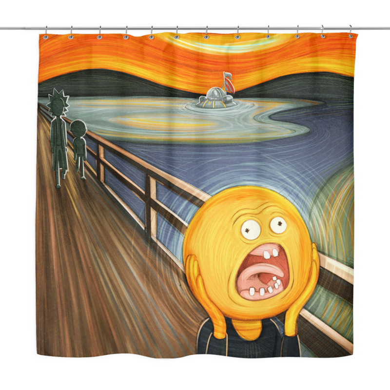 Rick and morty screaming sun png. Shower curtain porcupus