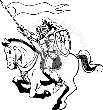 Drawing knight horse. Line clip art at