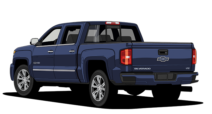 Silverado drawing pickup truck. Chevy legends year history