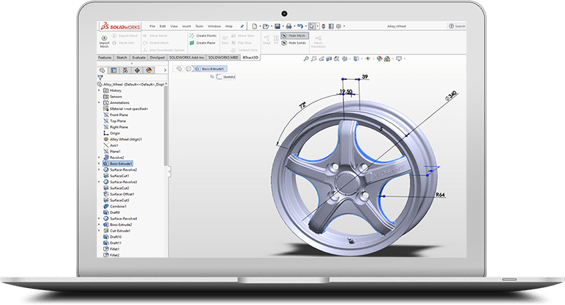 Rim drawing solidworks. D scanning tools