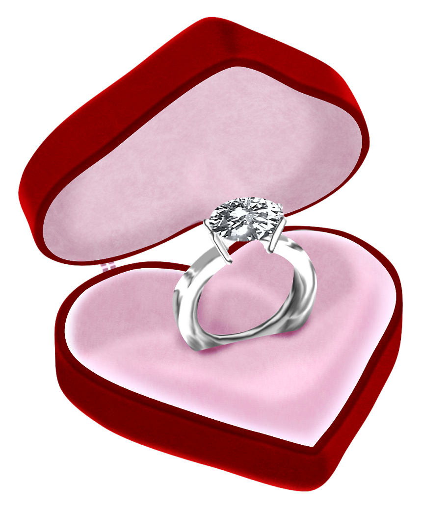 Ring box png. Diamond in heart clipart