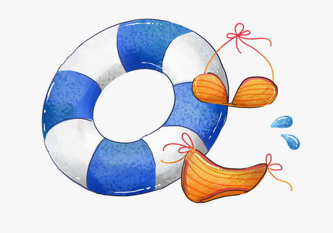 Rings clipart cartoon. Blue swimming sandy beach
