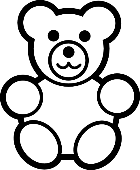Rip drawing teddy bear. Collection of outline