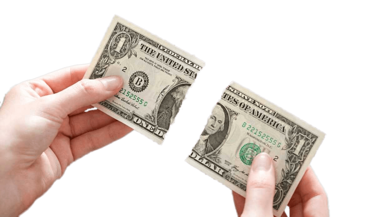 Dollar transparent 1. Bill ripped in two