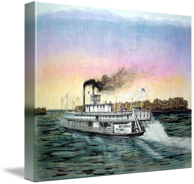 Riverboat drawing painting. Bald eagel by richard